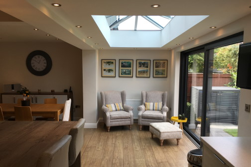 Furniture under a skylight of a single storey house extension